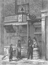 """COVENT GARDEN. The """"Whistling Oyster"""". London c1880 old antique print picture"""